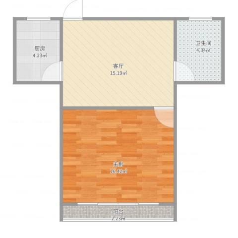 泗塘五村1室1厅1卫1厨58.00㎡户型图