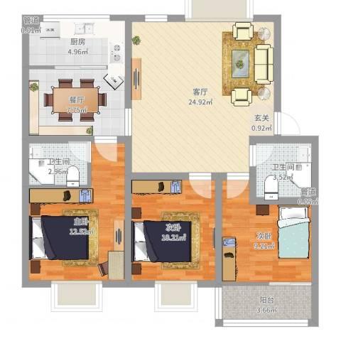 测试效果3室2厅4卫1厨150.00㎡户型图