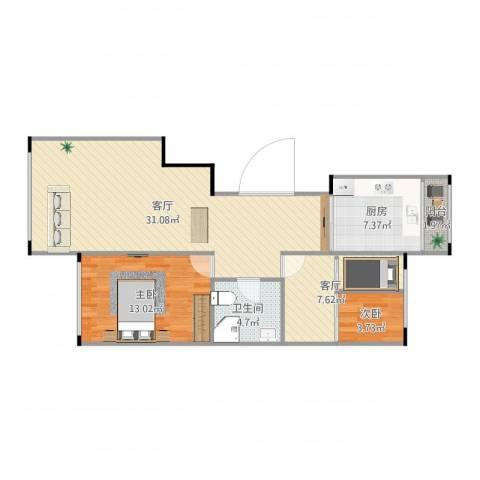 和谐家园2室2厅1卫1厨87.00㎡户型图