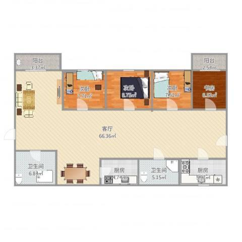 兴业新村4室1厅2卫2厨157.00㎡户型图