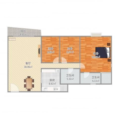 富庭华园3室1厅2卫1厨122.00㎡户型图