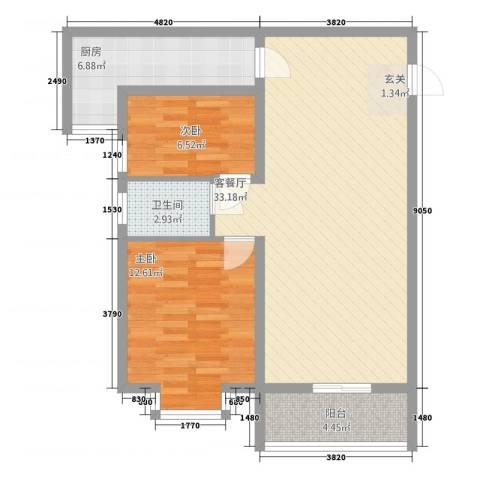 旭景崇盛园2室2厅1卫1厨96.00㎡户型图