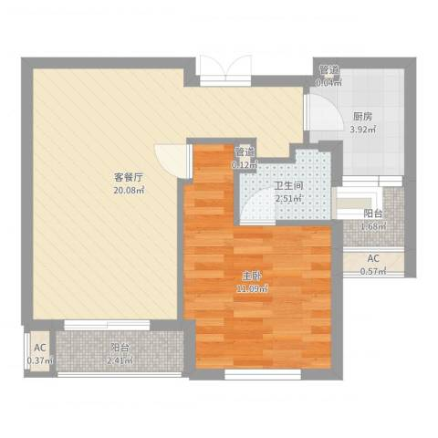 金都九月洋房朗轩1室2厅1卫1厨53.00㎡户型图