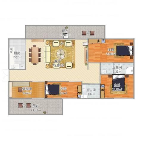 林村公寓3室1厅2卫1厨151.00㎡户型图