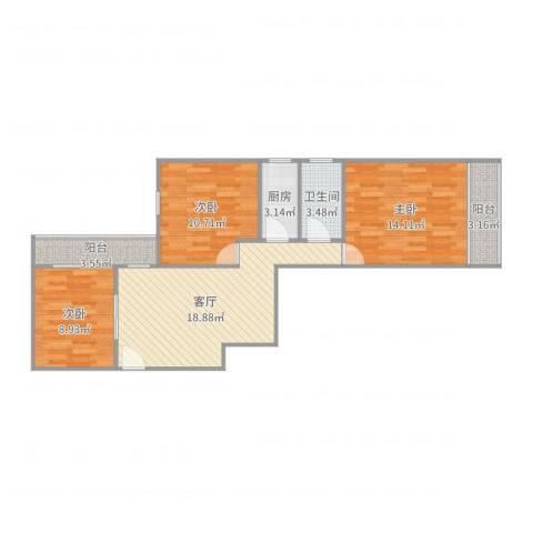 新泾五村3室1厅1卫1厨82.00㎡户型图
