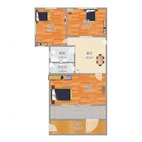 车站新村3室1厅1卫1厨79.00㎡户型图