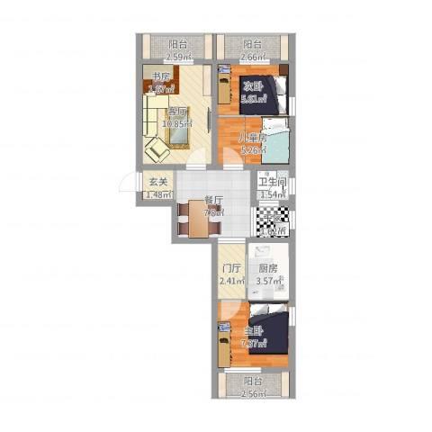浦口西里3室2厅1卫1厨69.00㎡户型图