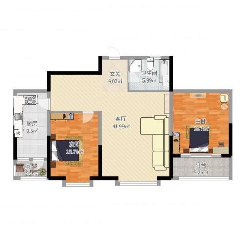 奥林国际公寓2室1厅1卫1厨122.00㎡户型图