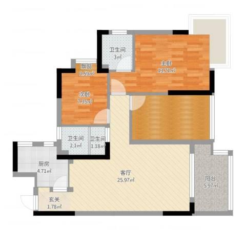 高信向日葵2室1厅3卫1厨93.00㎡户型图