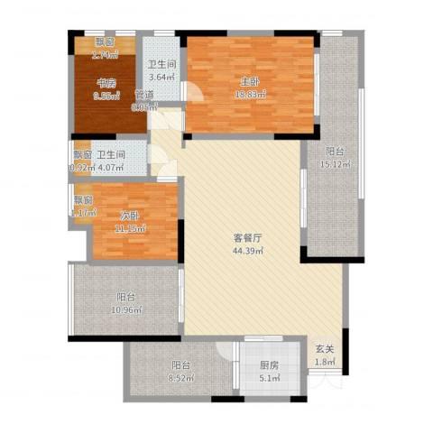 花滩国际新城丁香郡3室2厅2卫1厨131.37㎡户型图