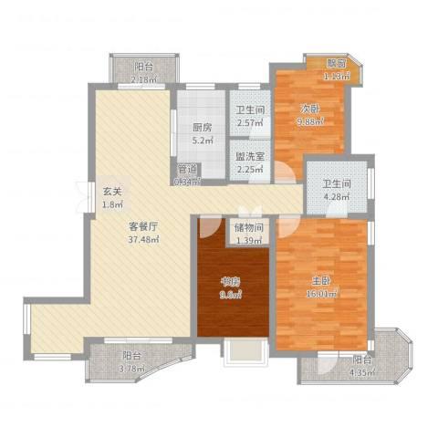 中铁人才家园3室2厅2卫1厨124.00㎡户型图
