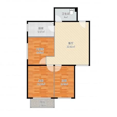 首开-康乃馨城F3户型3室1厅1卫1厨82.00㎡户型图