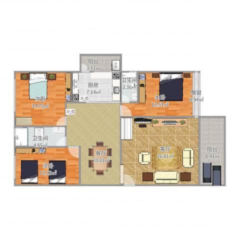 景湖花园紫云龙庭B2栋C梯4023室2厅2卫1厨154.00㎡户型图