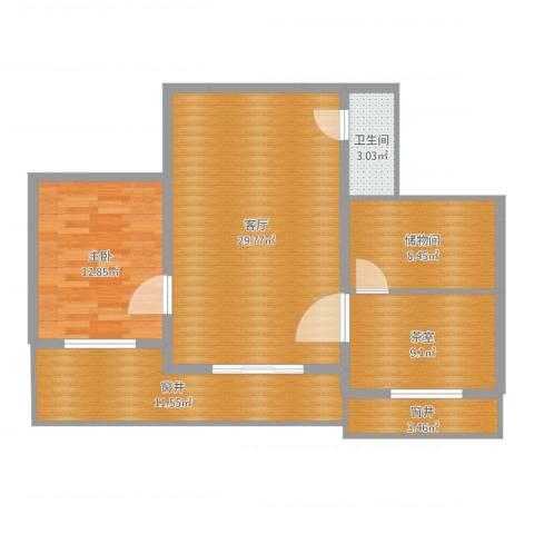 联发・香水湾1室1厅3卫1厨98.00㎡户型图