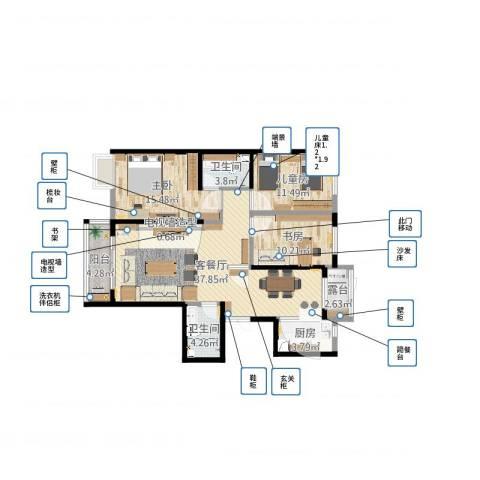 卓达上院3室2厅2卫1厨137.00㎡户型图