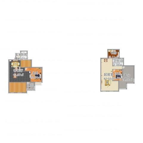 蓝湾国际花园3室2厅1卫1厨245.00㎡户型图