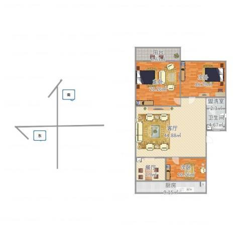 师范小区3室4厅1卫1厨160.00㎡户型图