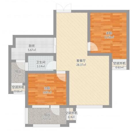 天马相城四期2室2厅1卫1厨86.00㎡户型图