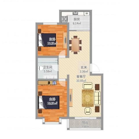 巨海城五区2室2厅1卫1厨95.00㎡户型图