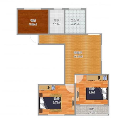 大宁龙盛雅苑3室2厅1卫1厨65.00㎡户型图