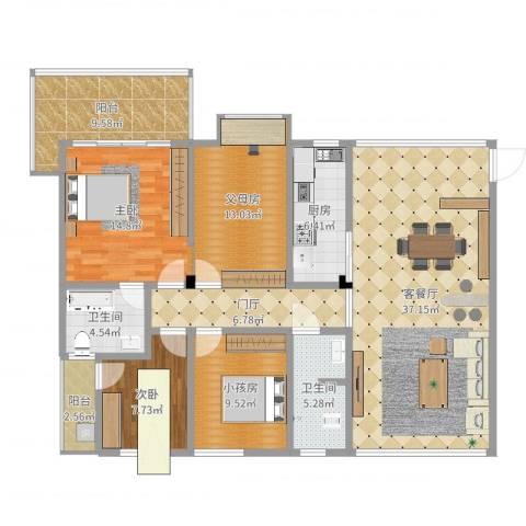 华盛世纪新城1室2厅3卫1厨147.00㎡户型图