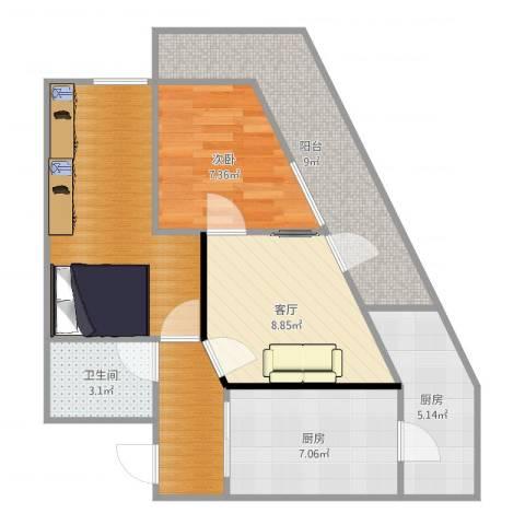 北兴教育园1室1厅1卫2厨71.00㎡户型图