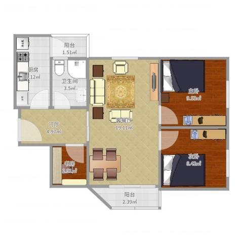 石楼红棉阁3室2厅1卫1厨72.00㎡户型图