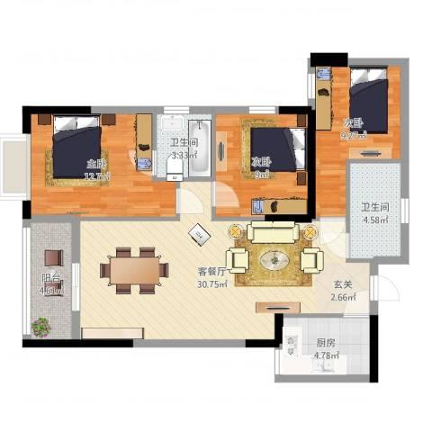 蔚蓝国际3室2厅2卫1厨99.00㎡户型图