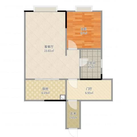 时代华庭1室2厅1卫1厨67.00㎡户型图