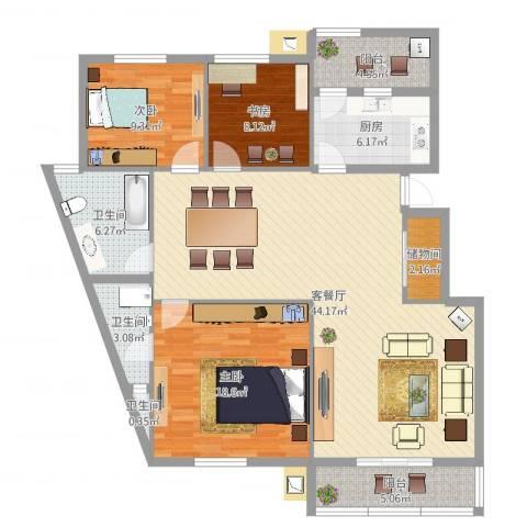 常青藤小城3室2厅3卫1厨135.00㎡户型图