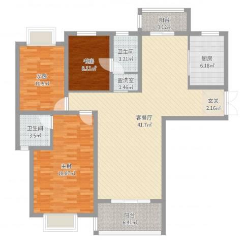 龙庭一品3室4厅2卫1厨129.00㎡户型图