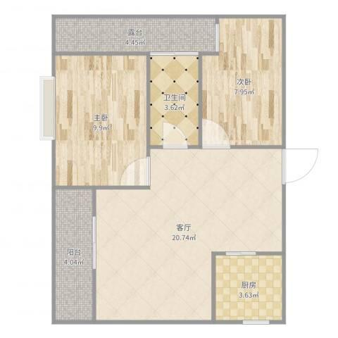 富江阁2室1厅1卫1厨68.00㎡户型图
