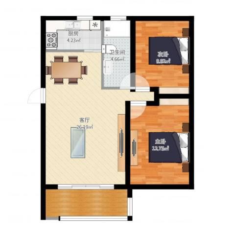 东林锦峰苑2室1厅1卫1厨79.00㎡户型图
