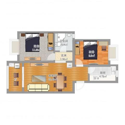 新月明星园1室2厅1卫1厨72.00㎡户型图