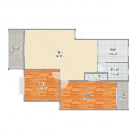 鄱阳小区,丰庭苑2室1厅2卫1厨101.00㎡户型图