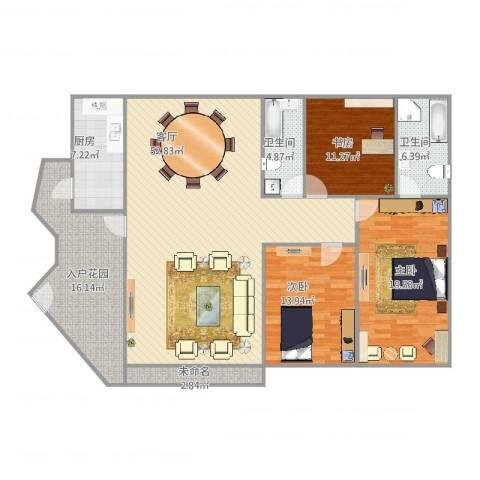 中海万锦豪园3室1厅2卫1厨180.00㎡户型图