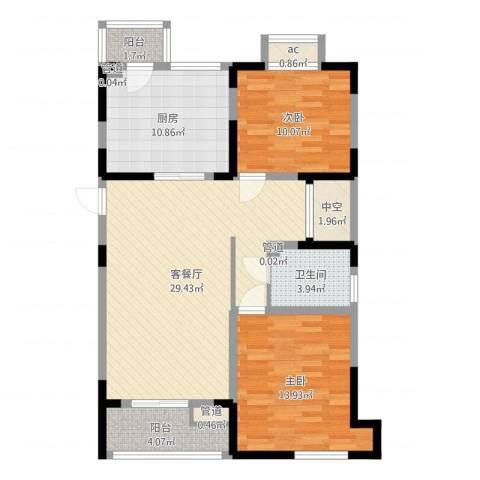 第六大道大洋嘉园2室2厅1卫1厨97.00㎡户型图