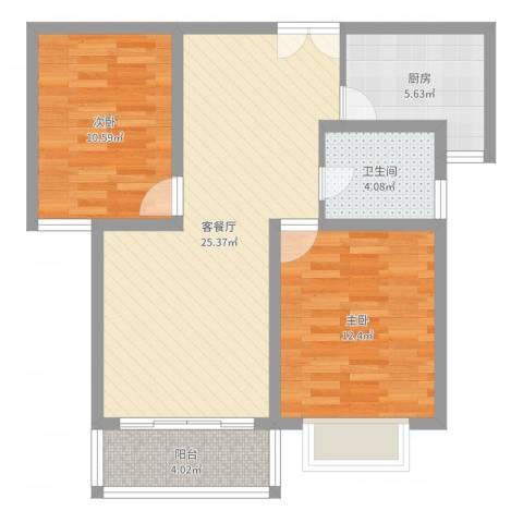 宏惠花苑二期2室2厅1卫1厨78.00㎡户型图