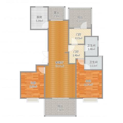 万国城2室2厅2卫1厨107.00㎡户型图