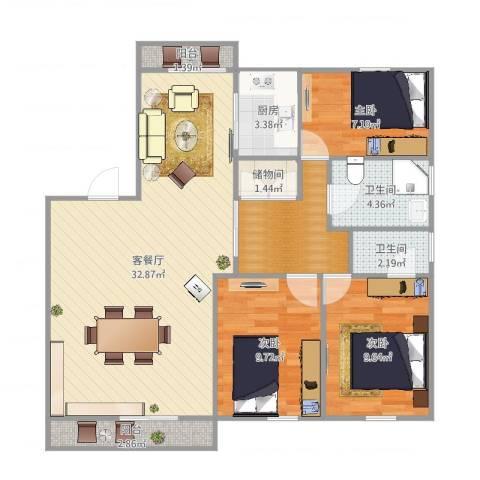 东苑新天地南区-322-883室2厅2卫1厨101.00㎡户型图