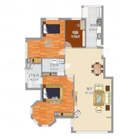 漫步巴黎3室1厅2卫1厨134.00㎡户型图