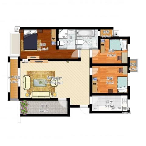 宽景一品3室2厅2卫1厨100.00㎡户型图