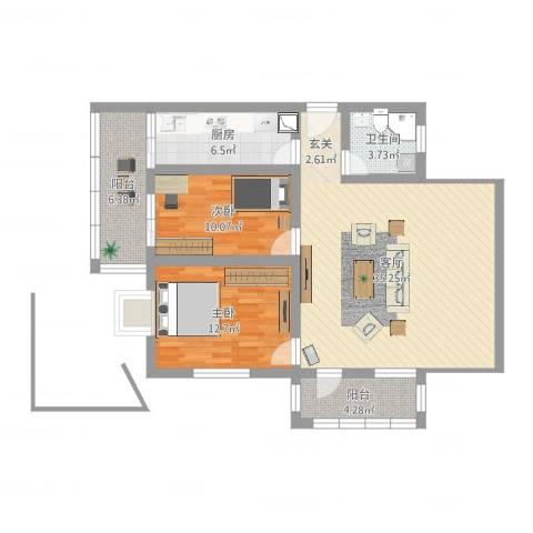 东旭园2室1厅1卫1厨99.00㎡户型图