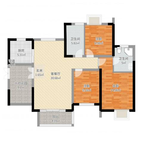 世纪城龙昌苑3室2厅2卫1厨117.00㎡户型图