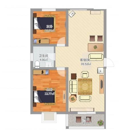 蓝溪花园2室2厅1卫1厨87.00㎡户型图