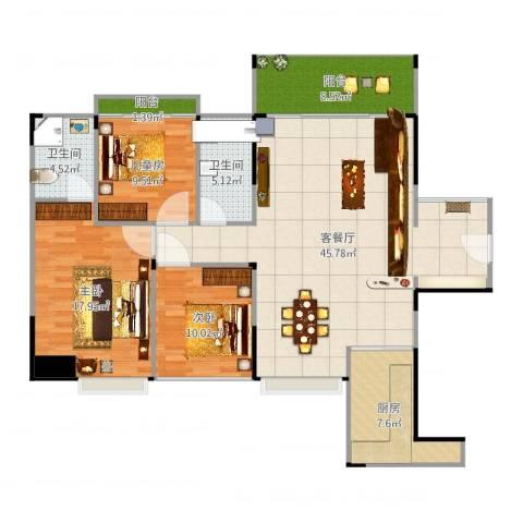 品湖居3室2厅2卫1厨138.00㎡户型图