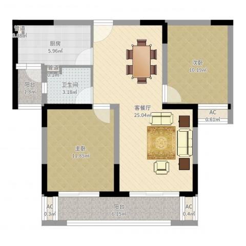 大庆锦绣新城2室2厅1卫1厨97.00㎡户型图