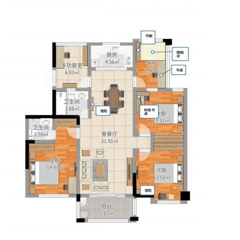 冠达豪景东苑4室2厅2卫1厨127.00㎡户型图