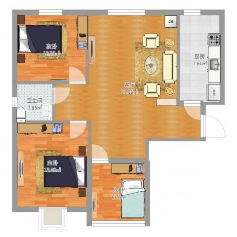 禧福泛海时代3室1厅1卫1厨89.00㎡户型图