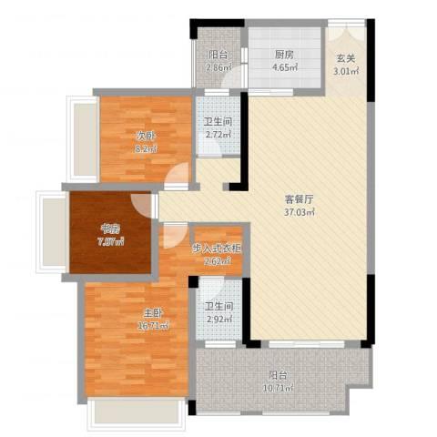 花滩国际新城丁香郡3室2厅2卫1厨92.86㎡户型图